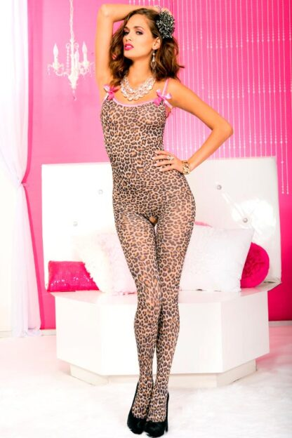Leopard Print Crotchless Bodystocking with Satin Bows ML#1112 Front
