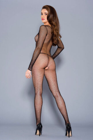 Criss Cross Fishnet Long Sleeve Crotchless Bodystocking - ML#1209 Black Back