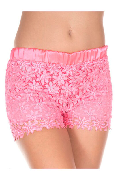 Lace Shorts - Neon Pink