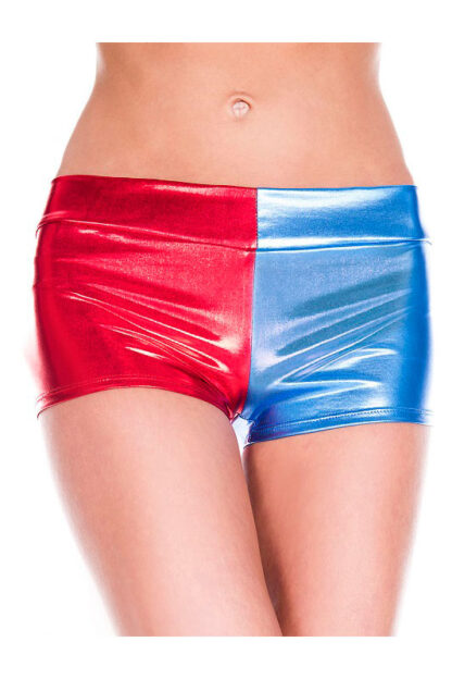 Metallic Booty Shorts - Red & Blue