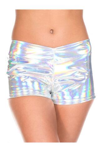 Shiny Silver Booty Shorts - Silver