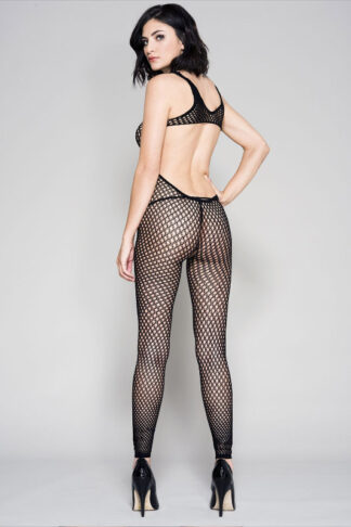 Footless Fishnet Bodystocking - Black ML#1395 Back