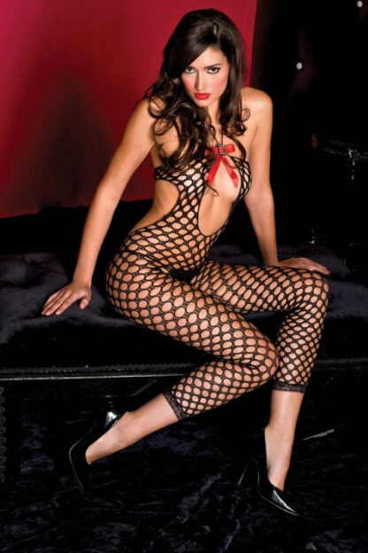 Footless Cutout Pothole Crotchless Bodystocking - Black ML#1425 Front