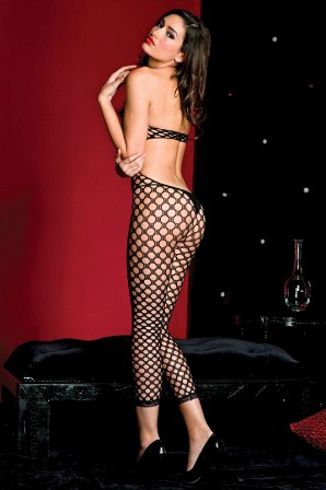 Footless Cutout Pothole Crotchless Bodystocking - Black ML#1425 Back