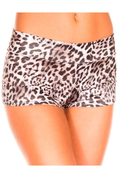 Leopard Print Booty Shorts - Coffee