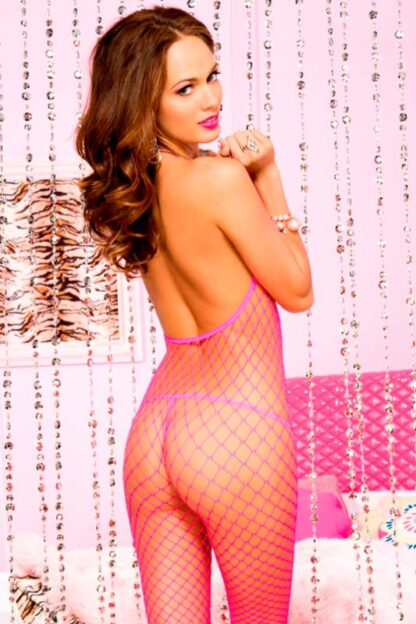 Halter Rainbow Strings Spandex Mini Diamond Net Crotchless Bodystocking - Neon Pink ML#1523 Back