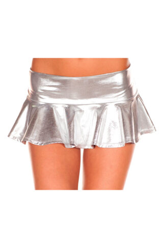 Metallic Pleated Mini Skirt - Silver
