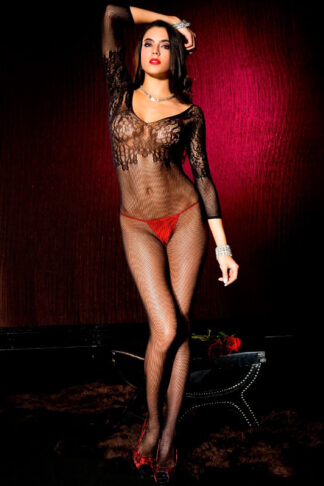 Spandex Seamless Fishnet Quarter Sleeve Crotchless Bodystocking - Black ML#1570 Front