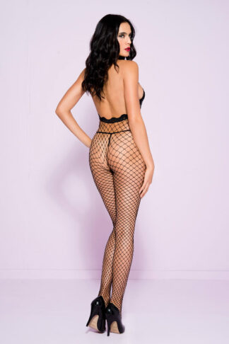 Lace Trim Halter Spandex Mini Diamond Net Crotchless Bodystocking - Black ML#1614 Back