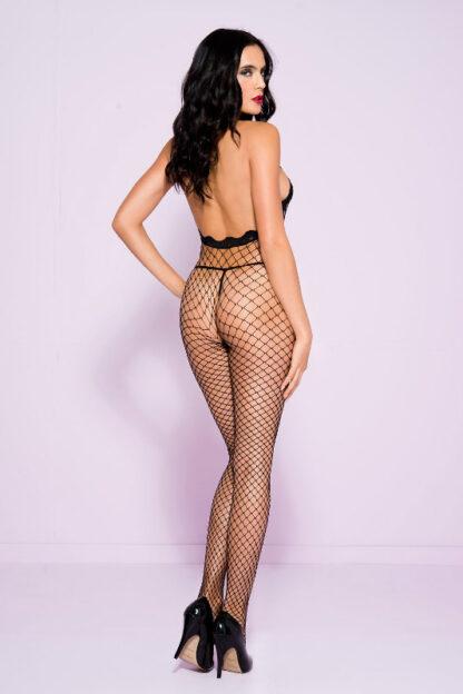 Lace Trim Halter Spandex Mini Diamond Net Crotchless Bodystocking - Black ML#1614 Back