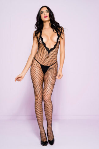 Lace Trim Halter Spandex Mini Diamond Net Crotchless Bodystocking - Black ML#1614 Front