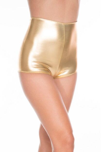 Wet Look High Waisted Zip Up Shorts - Gold