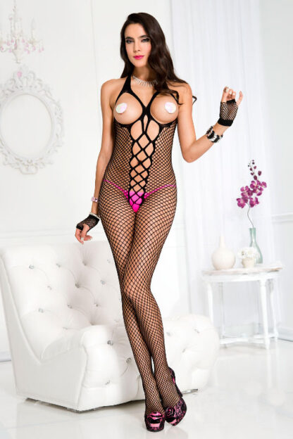 Mini Diamond Net Crotchless Bodystocking with Front Lace Up - Black ML#1703 Front