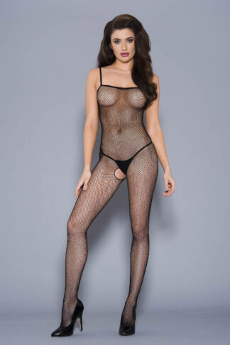 Fishnet Crotchless Bodystocking - Black ML#1901 Front