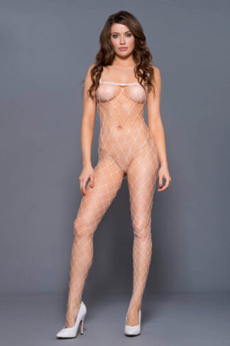 Fence Net Spaghetti Straps Spandex Bodystocking - White ML#1924 Front