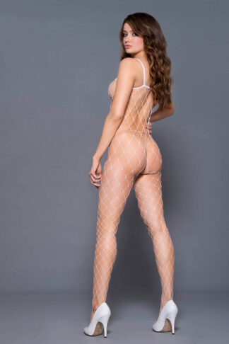 Fence Net Spaghetti Straps Spandex Bodystocking - White ML#1924 Back