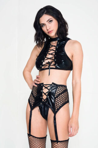 Lace Up High Neck Wet Look Top with Fishnet Garter Belt and G-string