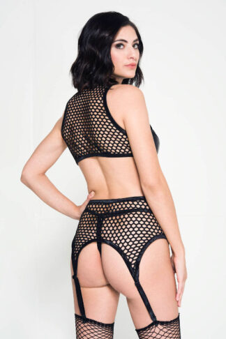 Lace Up High Neck Wet Look Top with Fishnet Garter Belt and G-string Back