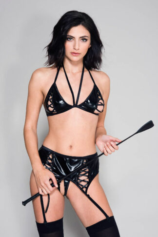 Lace Up Front Bra Top with Wet Look Matching Garter Belt and Crotchless G-string