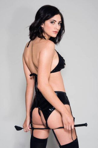 Lace Up Front Bra Top with Wet Look Matching Garter Belt and Crotchless G-string Back