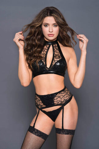 Keyhole Halter Neck Top with Wet Look and Lace High Waist Garter Belt and Matching Anty