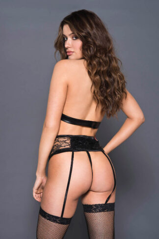 Keyhole Halter Neck Top with Wet Look and Lace High Waist Garter Belt and Matching Anty Back