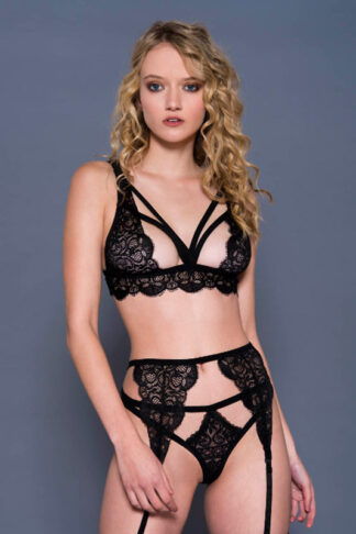 Lace Bra Top with High Waist Garter Belt and Matching Cut Out Panels G-string