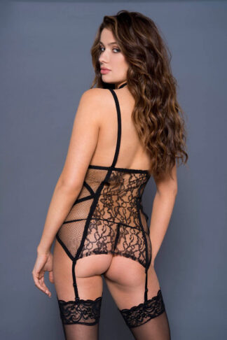 Open Bust Garter Chemise with High Strap Neck Back