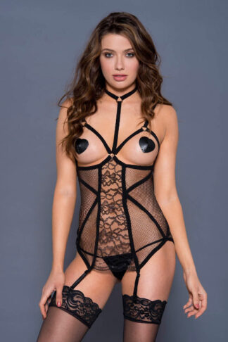 Open Bust Garter Chemise with High Strap Neck