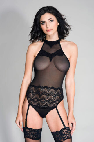 High Neck Lace and Mesh Teddy with Attached Garter Belts - Black