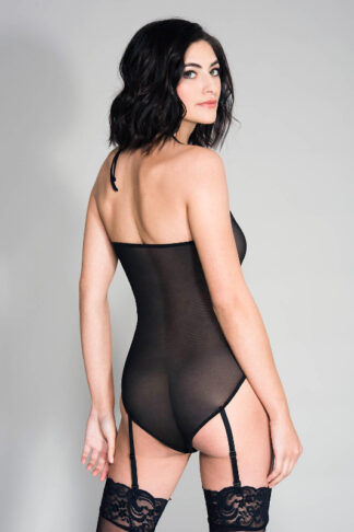 High Neck Lace and Mesh Teddy with Attached Garter Belts - Black Back