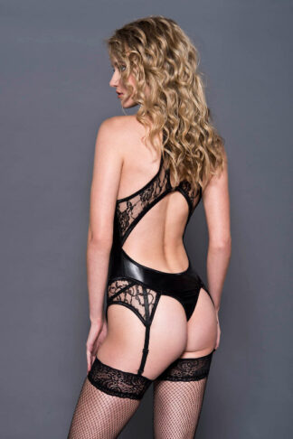 Wet Look & Lace Garter Teddy With Back Keyhole - Black Back