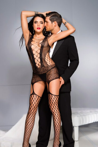 Lace and Net with Center Panel Detail Camisole with Attached Stockings - Black ML#2789 Front