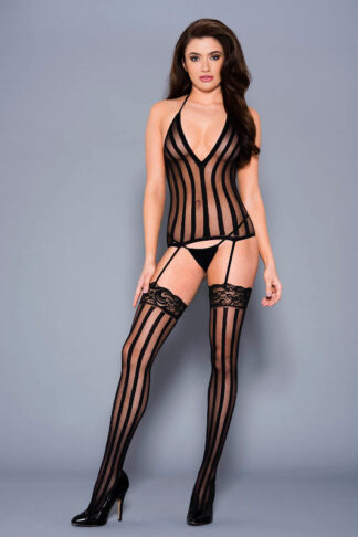 Vertical Striped Halter Neck Chemise with Attached Matching Stockings - Black ML#2799 Front