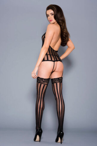 Vertical Striped Halter Neck Chemise with Attached Matching Stockings - Black ML#2799 Back