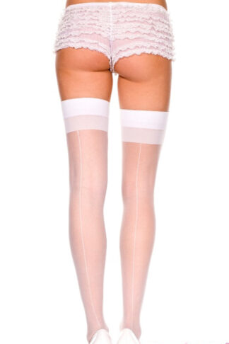 Backseam Sheer Thigh Hi - White