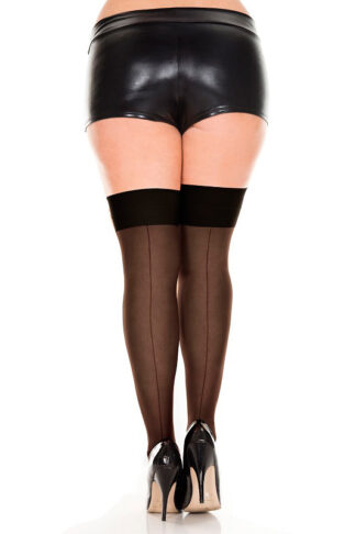 Backseam Sheer Thigh Hi - Queen Size (Black)
