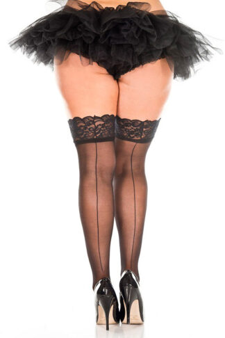 Lace Top Backseam Sheer Thigh Hi - Queen Size Black