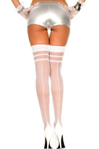 Double Stripe Top Backseam Sheer Thigh Hi - White