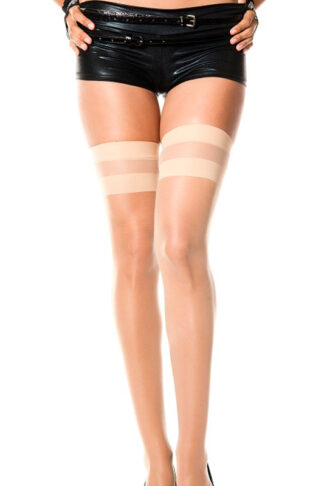Opaque Stripes Top Spandex Sheer Thigh Hi - Beige