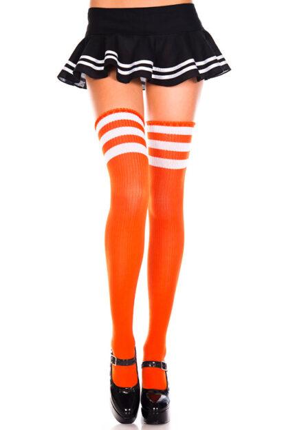 Athletic Striped Thigh Highs Orange & White