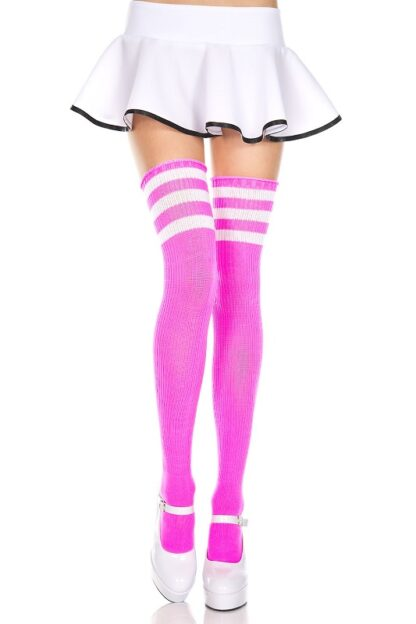 Athletic Striped Thigh Highs Neon Pink & White