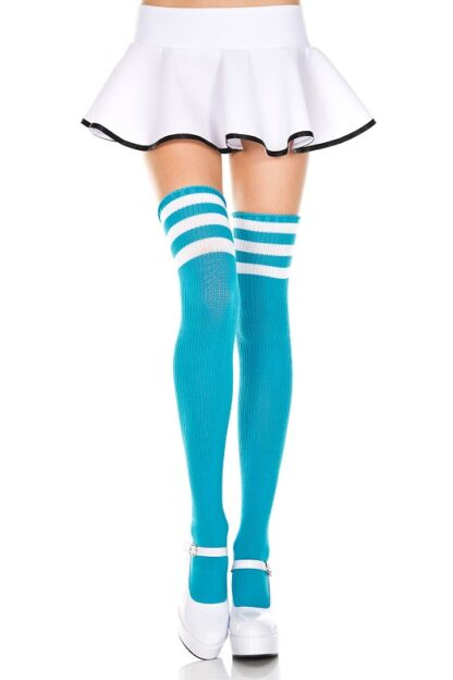 Athletic Striped Thigh Highs Turquoise & White