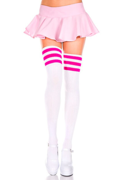 Athletic Striped Thigh Highs White & Neon Pink