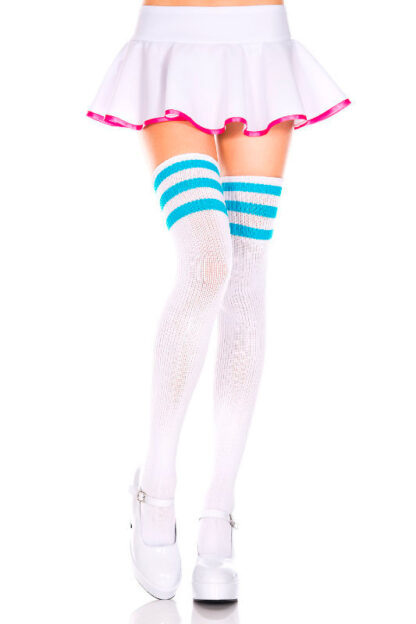 Athletic Striped Thigh Highs White & Turquoise