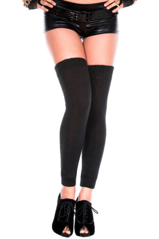 Footless Acrylic Thigh Hi Leg Warmer - Black