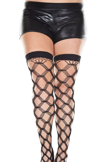 Multi Strands Spandex Diamond Net Thigh Hi - Black