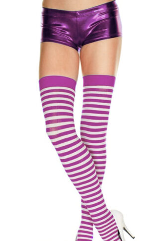 Striped Thigh Hi - Purple & White