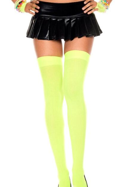 Opaque Thigh Highs Neon Green