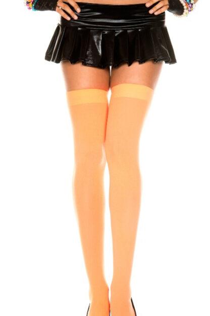 Opaque Thigh Highs Neon Orange